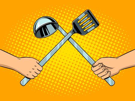 Battle on kitchen utensils pop art vector