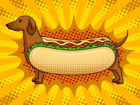 Hot dog funny metaphor pop art vector Vetores