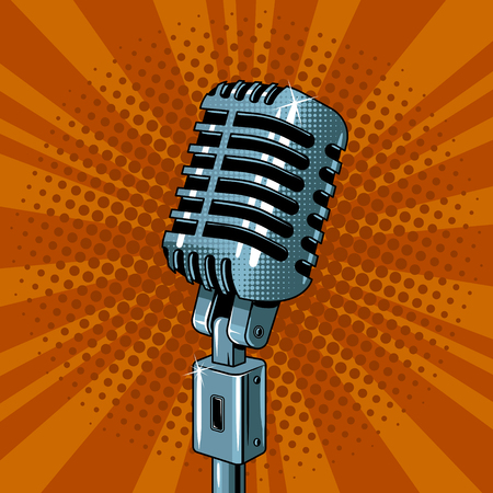 Microphone pop art style vector illustration