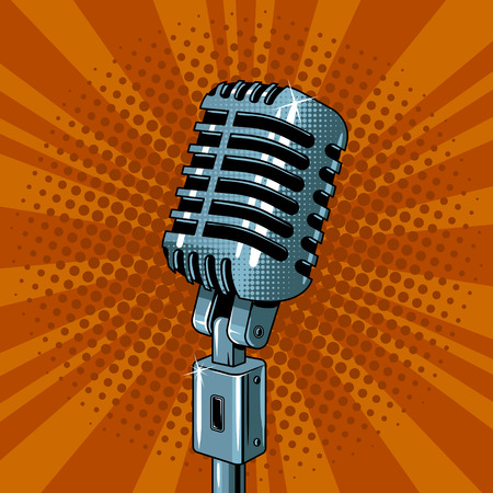 Classic microphone pop art style vector illustration. Voice sound record device. Comic book style imitation