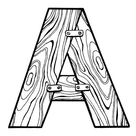 Houten letter A gravure vectorillustratie. Lettertype kunst. Krasplankstijl imitatie. Hand getrokken afbeelding.