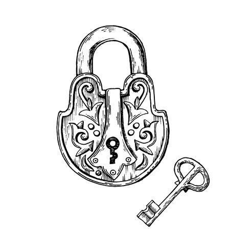 Vintage slot en sleutel gravure vectorillustratie. . Krasplankstijl imitatie. Hand getrokken afbeelding. Stockfoto - 86211889