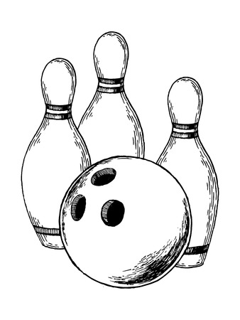 Skittles and bowling ball engraving vector illustration. Bowling sport. Scratch board style imitation. Hand drawn image. Ilustração