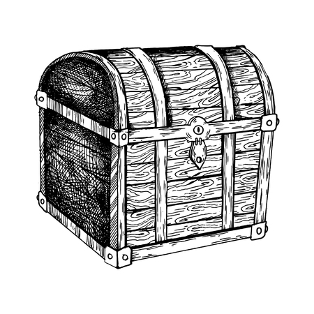 Ilustración de vector de grabado de cofre de la vendimia. Incrustación estilo scratch board. Imagen dibujada a mano
