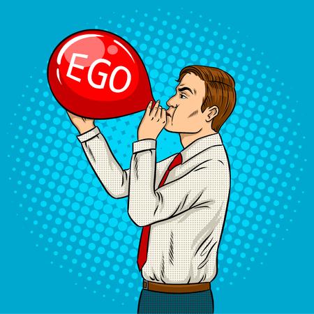 De mens blaast retro vectorillustratie van het rode luchtballonpop-art op Stock Illustratie