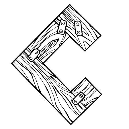 Lettre en bois lettre illustration vectorielle Banque d'images - 86969029