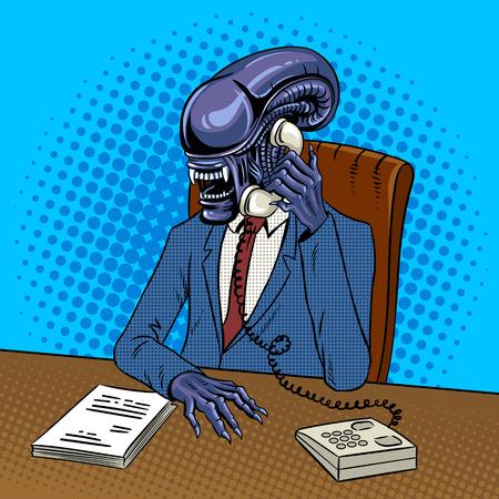 전화로 외계인 보스 사업가 회담. 팝 아트 복고풍 벡터 일러스트 레이 션. 만화 스타일 모방입니다.