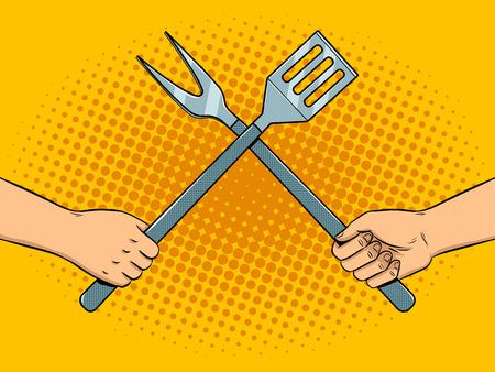 Battle on kitchen utensils pop art Illustration