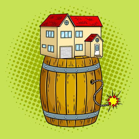 Huis op poedervormige pop kunst Stock Illustratie