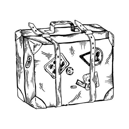 Old travel case engraving illustration.