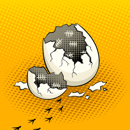 タイムスタンプ付き卵殻ポップアートベクター