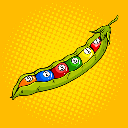 Pea pod with billiard balls pop art vector illustration. Comic book style imitation.