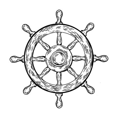 Ship steering wheel engraving vector illustration. Buddhist religion noble eightfold path symbol. Scratch board style imitation. Hand drawn image.