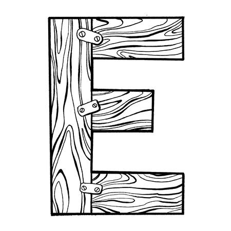 Houten letter E gravure vectorillustratie. Lettertype kunst. Krasplankstijl imitatie. Hand getrokken afbeelding.