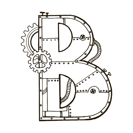Mechanical letter B engraving vector illustration. Font art. Scratch board style imitation. Hand drawn image.