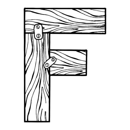Lettre en bois f gravure illustration vectorielle. éléments de style de main . chalk tableau dessiné à la main . hand-drawn illustration tirée par la main Banque d'images - 87523575