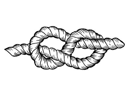 Knoop graveren vector illustratie. Scratchboard stijl imitatie. Hand getekend beeld. Stockfoto