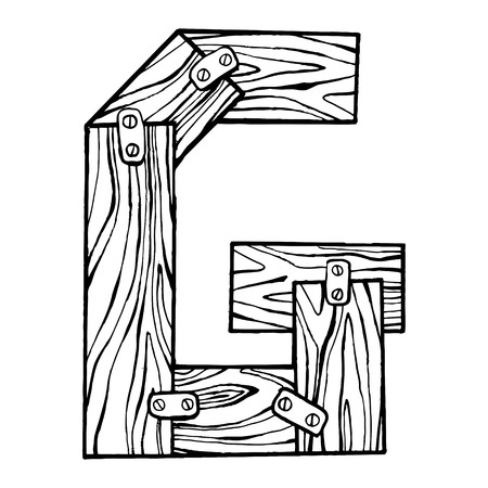 Wooden letter G engraving vector illustration. Font art. Scratch board style imitation. Hand drawn image. Imagens
