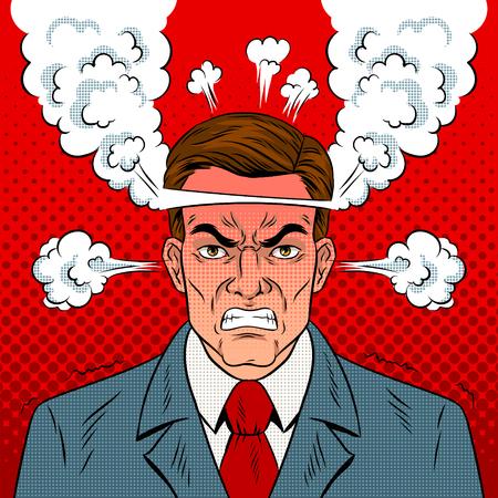 Angry man pop art retro vector illustration.