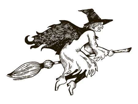 Witch flying on broomstick engraving vector illustration. Illustration