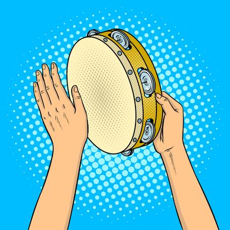 탬버린 팝 아트 레트로 벡터 일러스트와 함께 손입니다. 만화 스타일 모방입니다.