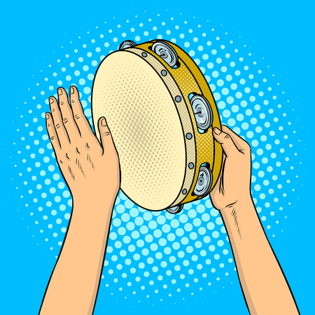 Mani con illustrazione vettoriale retrò pop art tamburello. Imitazione stile fumetto.