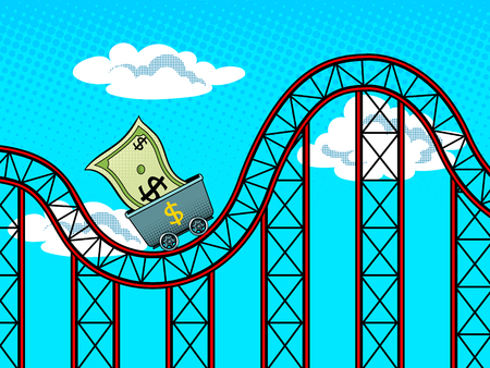 Dollar roller coaster pop art retro vector illustration. Currency fluctuations metaphor. Comic book style imitation. Ilustracja
