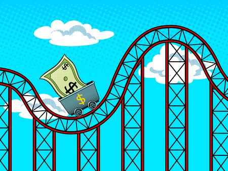 Dollar roller coaster pop art retro vector illustration. Currency fluctuations metaphor. Comic book style imitation. Reklamní fotografie