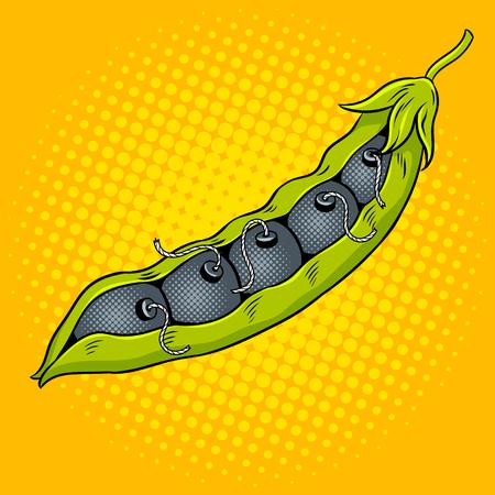 爆弾ポップ アートのベクトル図とエンドウ豆の鞘。コミック スタイルの模倣。