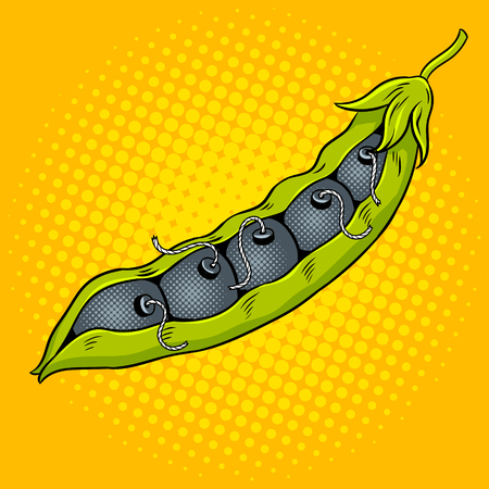 Pea pod with bombs pop art vector illustration. Comic book style imitation. Illustration