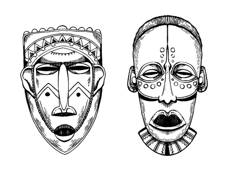African masks of savages engraving vector illustration. Scratch board style imitation.