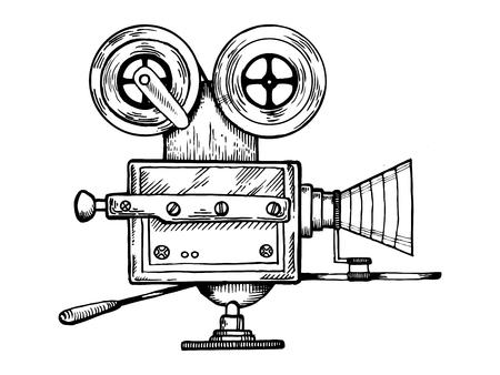 古い映画カメラの彫刻ベクトルのイラスト。スクラッチ ボード スタイルの模倣。