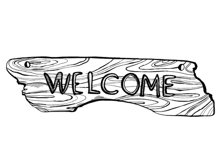 Wooden welcome plate engraving illustration.