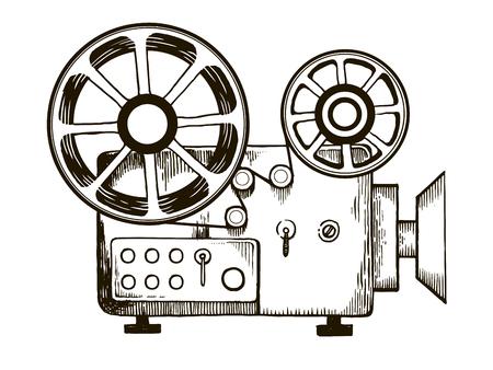 Old cinema projector engraving vector illustration.