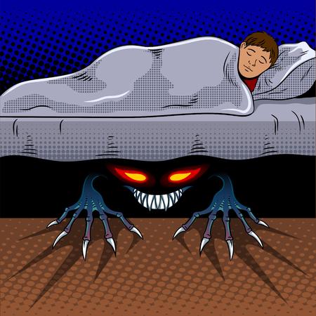 Kindslaap met monster onder de retro vectorillustratie van het bedpop-art. Comic book stijl imitatie.