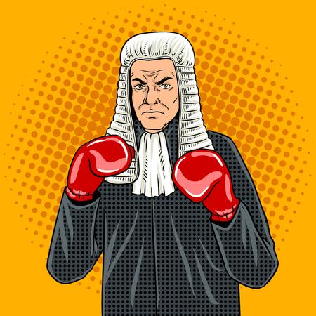 권투 장갑 팝 아트 레트로 벡터 일러스트와 함께 판사. 만화 스타일 모방입니다.