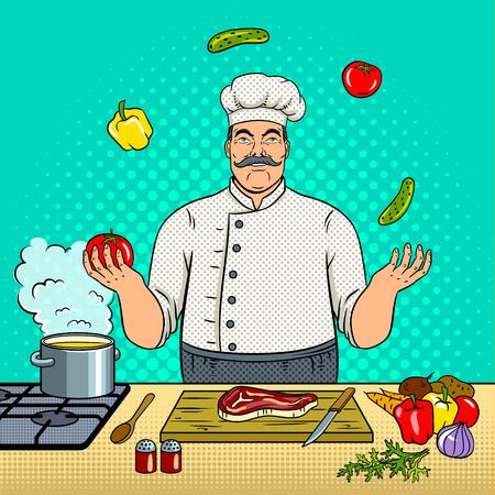 De chef-kok jongleert met met groentenpop-art retro vectorillustratie. Comic book stijl imitatie.