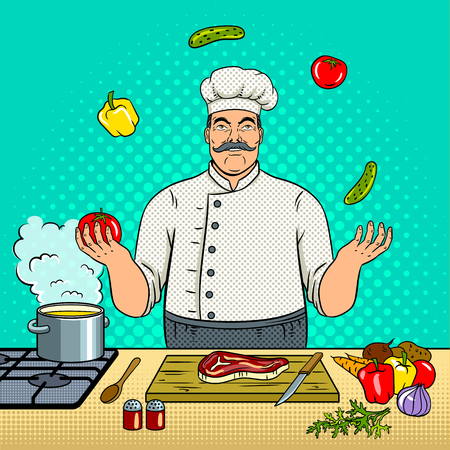 Chef juggles with vegetables pop art retro vector illustration. Comic book style imitation.