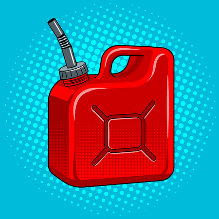 Gasoline jerrycan pop art retro vector illustration. Comic book style imitation.