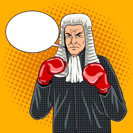 Juge avec des gants de boxe pop art vecteur Banque d'images - 88085905