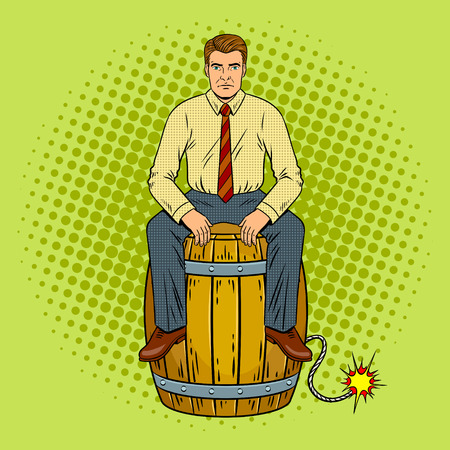 Man on powder keg pop art retro vector illustration. Comic book style imitation. Çizim