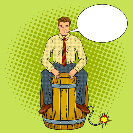 Man on powder keg pop art retro illustration.