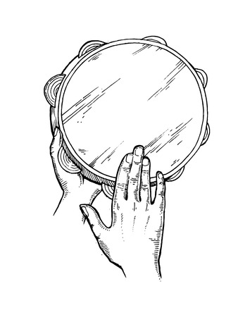 Hands and tambourine engraving vector illustration