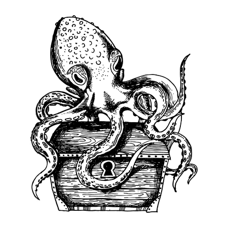 Octopus guards treasure engraving vector Stock Photo