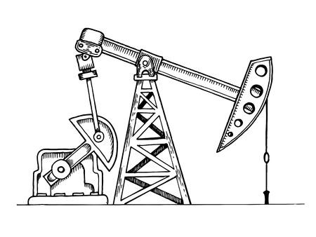 Oil rig engraving vector illustration