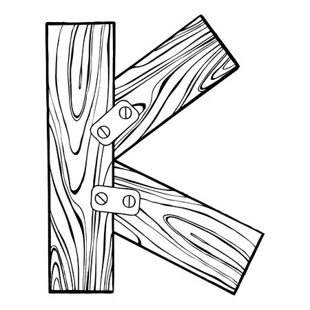 Lettre en bois k illustration de gravure Banque d'images - 88325493