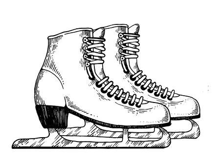 Skates engraving illustration. Ilustração