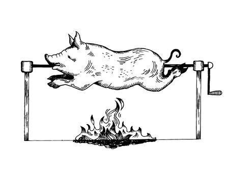 Piggy on spit engraving vector illustration