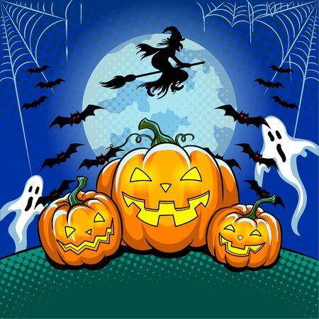 Halloween theme pop art vector illustration