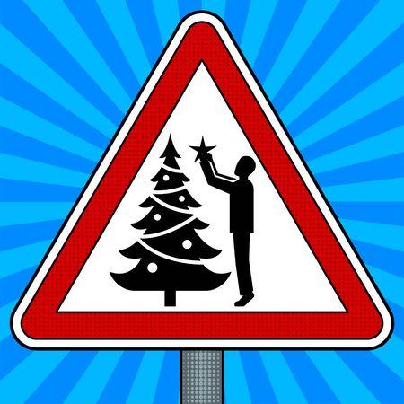 道路標識のクリスマス ツリーの装飾。